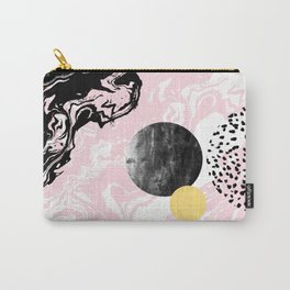 Gloriana - galaxy outer space abstract painting planets moon sun black and white pastel pink gold  Carry-All Pouch