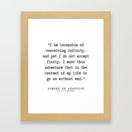 33  | Simone De Beauvoir Quotes | 200115 Framed Art Print