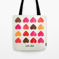 ass Tote Bags featuring LOVE ASS by Lulla