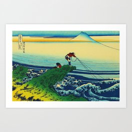 Vintage Japanese Art - Man Fishing Art Print