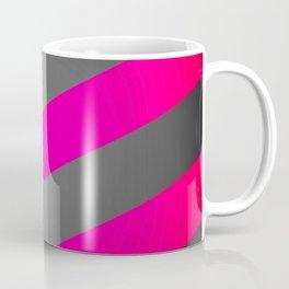 Hot Pink & Gray Diagonal Stripes Coffee Mug