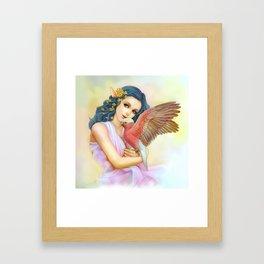 Blue haired elf and her galah Framed Art Print
