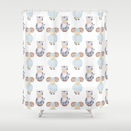 Cow and Sheep Pattern Shower Curtain