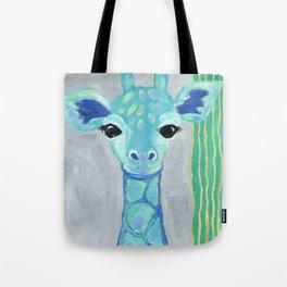 Giraffe Painting, Baby Giraffe, Blue Giraffe, Child's Room Decor, Gray Green Blue Art Tote Bag