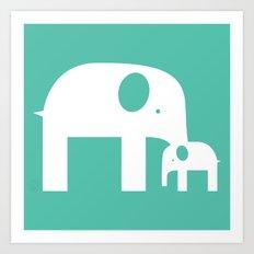 Blue Elephants Art Print