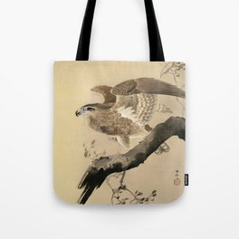 Ohara Koson, Hawk On The Tree Branch - Japanese Vintage Woodblock Print Tote Bag