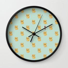 Hachikō, the legendary dog pattern (Green) Wall Clock