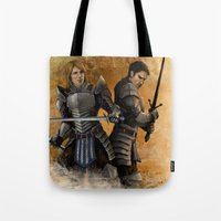 "dragon age Tote Bags featuring Dragon Age - Grey Wardens by Barbara ""Yuhime"" Wyrowińska"