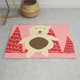 Christmas polar bear pink Rug