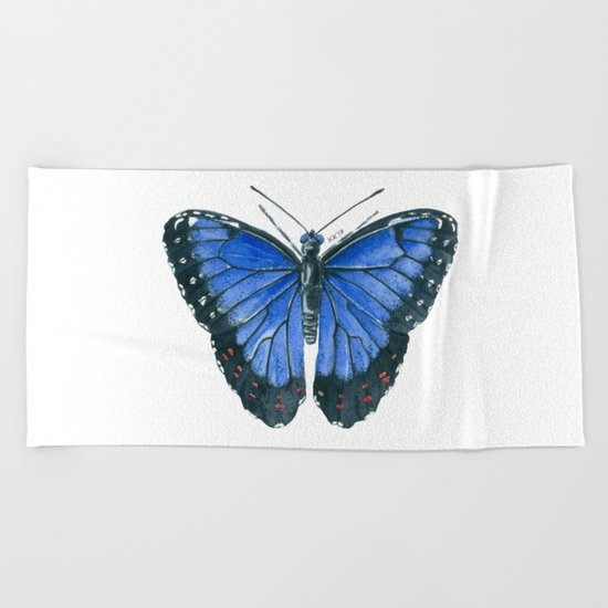 Blue Morpho butterfly watercolor painting Beach Towel