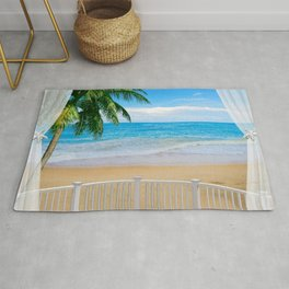 Balcony with a Beach Ocean View Rug