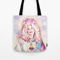 dolly parton Tote Bags featuring Saint Dolly Parton  by DirtyLola