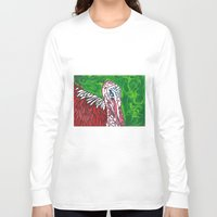 turkey Long Sleeve T-shirts featuring Angry Turkey by Sian Blackman