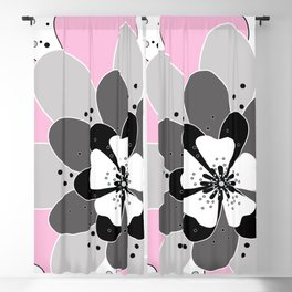 Pink flowers, spring, summer, flower, illustration, picture Blackout Curtain