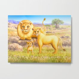 Lion, Lioness and Cub Metal Print