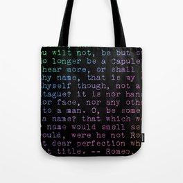 Rainbow Shakespeare! (Balcony Scene, Black Background) Tote Bag