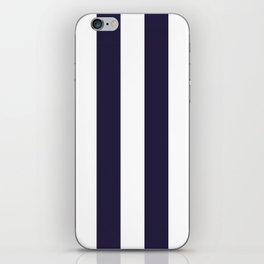 Dark eclipse Blue and White Wide Vertical Cabana Tent Stripe iPhone Skin