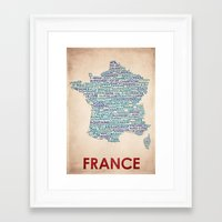 france Framed Art Prints featuring France by Wordmaps