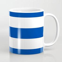 Smalt (Dark powder blue) - solid color - white stripes pattern Coffee Mug