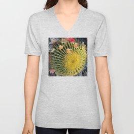 Barrel Cactus With Colorful Flower Petals Unisex V-Neck