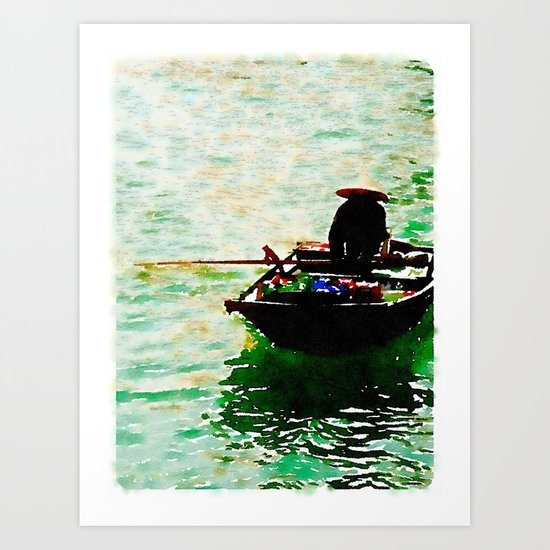 Row Boat in Vietnam Art Print
