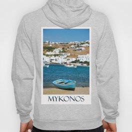Blue Boat on Mykonos Island Greece Hoody