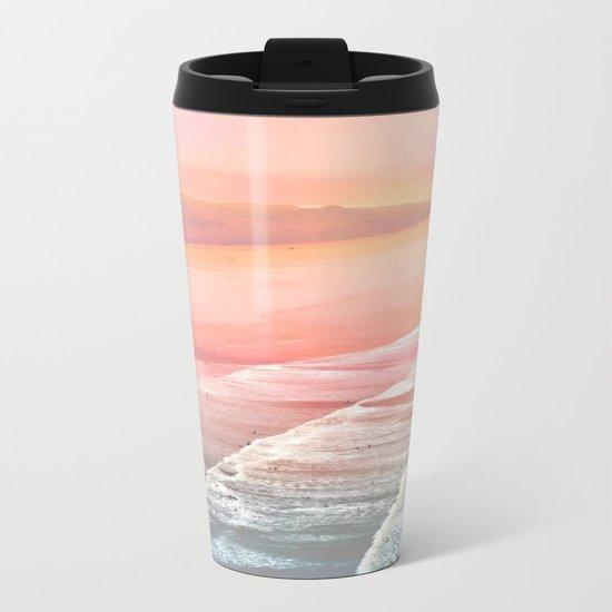 Pink Ocean Metal Travel Mug