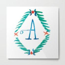 A - Wreath Alphabet Metal Print
