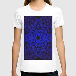 Openwork ornament of blue spots and velvet blots on black. T-shirt