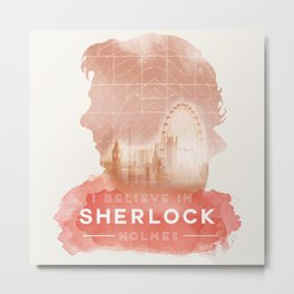 BBC Sherlock Holmes Watercolor Sillhouette Graphic Metal Print