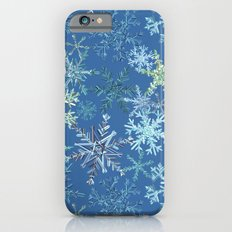 icy snowflakes on blue iPhone 6s Slim Case