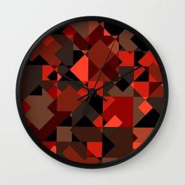 Peekaboo #3: abstract digital art - trendy modern colors from rectangles. Wall Clock