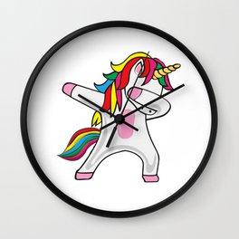Dabbing Unicorn Rainbow Wall Clock