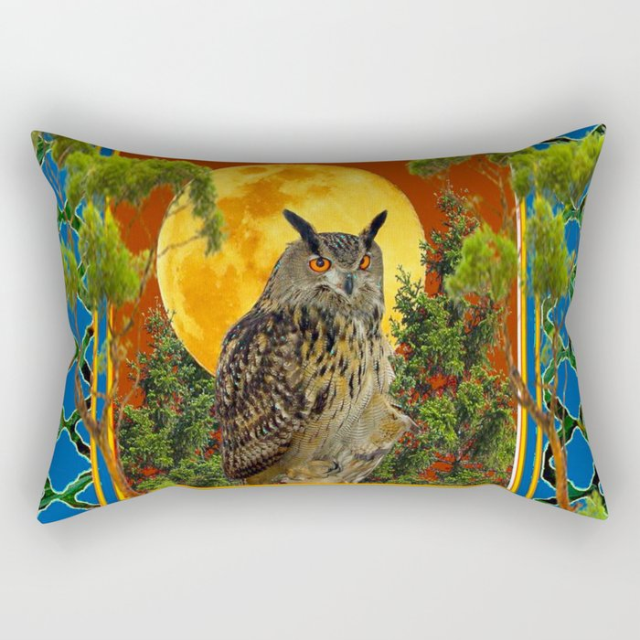 WILDERNESS OWL WITH FULL MOON & TREES TURQUOISE Rectangular Pillow