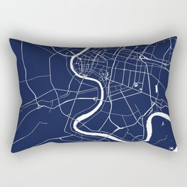 Bangkok Thailand Minimal Street Map - Navy Blue and White II Rectangular Pillow