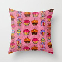 Cupcake Popart by Nico Bielow Throw Pillow