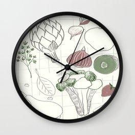 Green Fruits&Vegetables Wall Clock