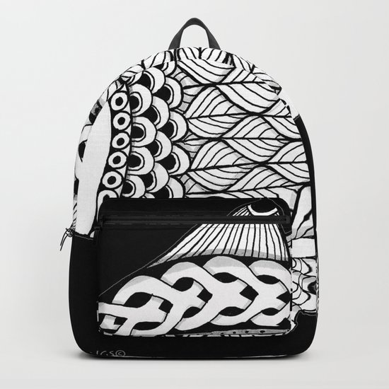 Fishies Zentangle Black and White Pen & Ink Backpack
