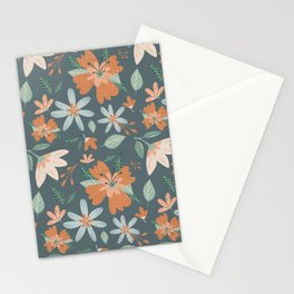 Flower Illustration Pattern | Blue Background Stationery Cards