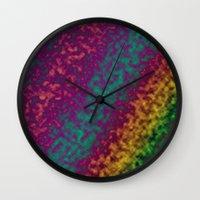 tie dye Wall Clocks featuring Tie Dye by Kings in Plaid