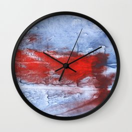 Red blue steel colorful wash drawing design Wall Clock