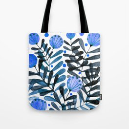Flowers and foliage - indigo and purple Tote Bag