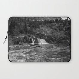 Redrock Falls bw - Glacier National Park Laptop Sleeve
