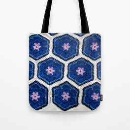 African Flower Crochet Art Tote Bag