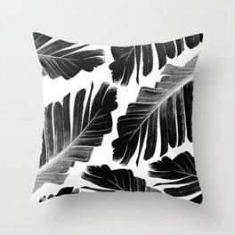 Tropical Black Banana Leaves Dream #1 #decor #art #society6 Throw Pillow