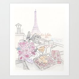Paris Rooftop Picnic with French Bulldog and Black Cat Art Print
