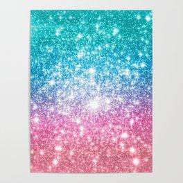 Mermaid Galaxy Sparkle Stars Poster