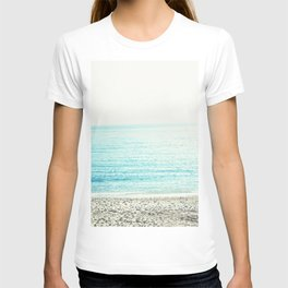 Color block Sea  Modern blue sea ocean beach photography stripes T-shirt