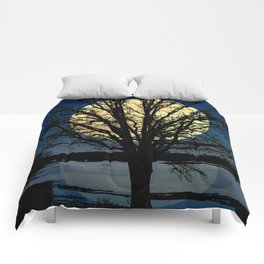 Modern Tree and Moon Over Midnight Blue Lake Art A479 Comforters