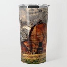 Red Barn - Rustic Barn in Shadows on Fall Day in Oklahoma Travel Mug